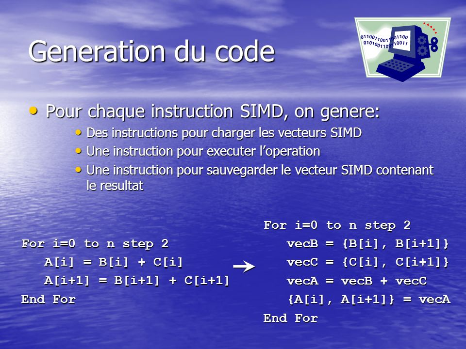 Generation du code Pour chaque instruction SIMD, on genere: