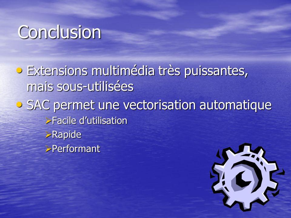 Conclusion Extensions multimédia très puissantes, mais sous-utilisées