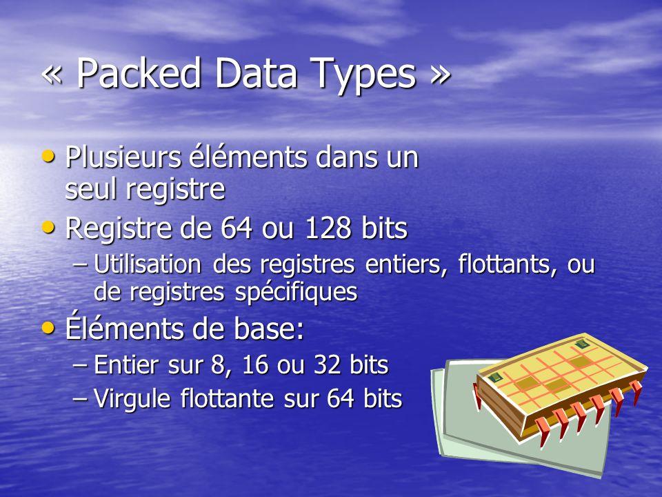 « Packed Data Types » Plusieurs éléments dans un seul registre