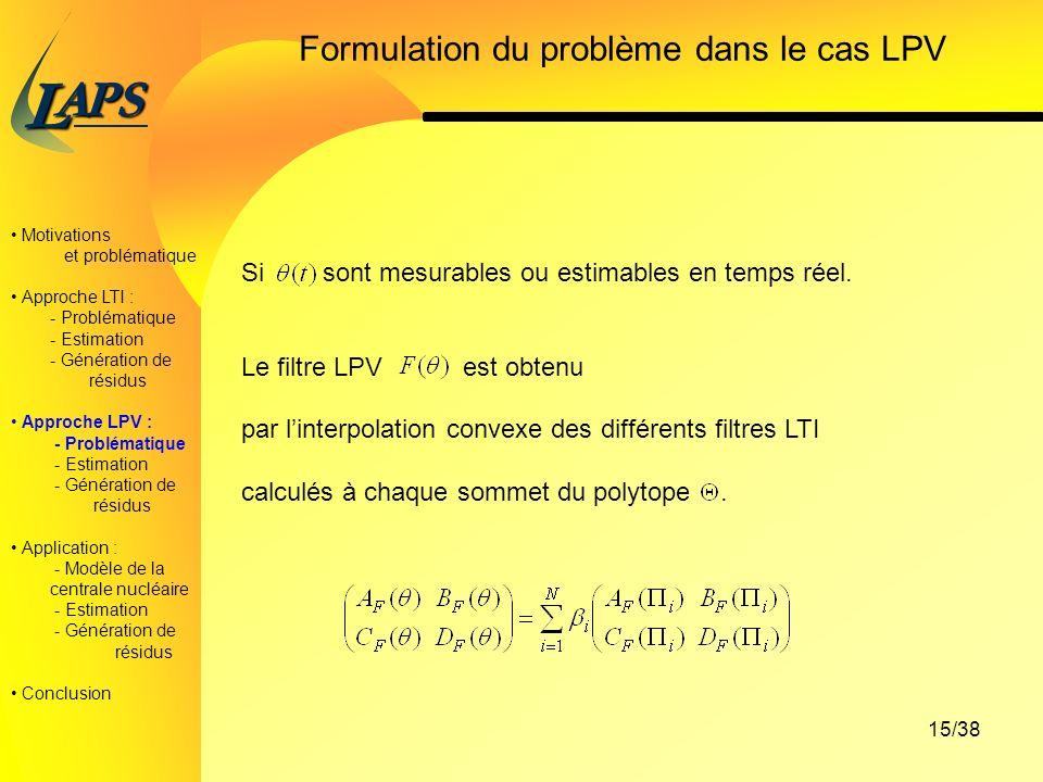 Formulation du problème dans le cas LPV