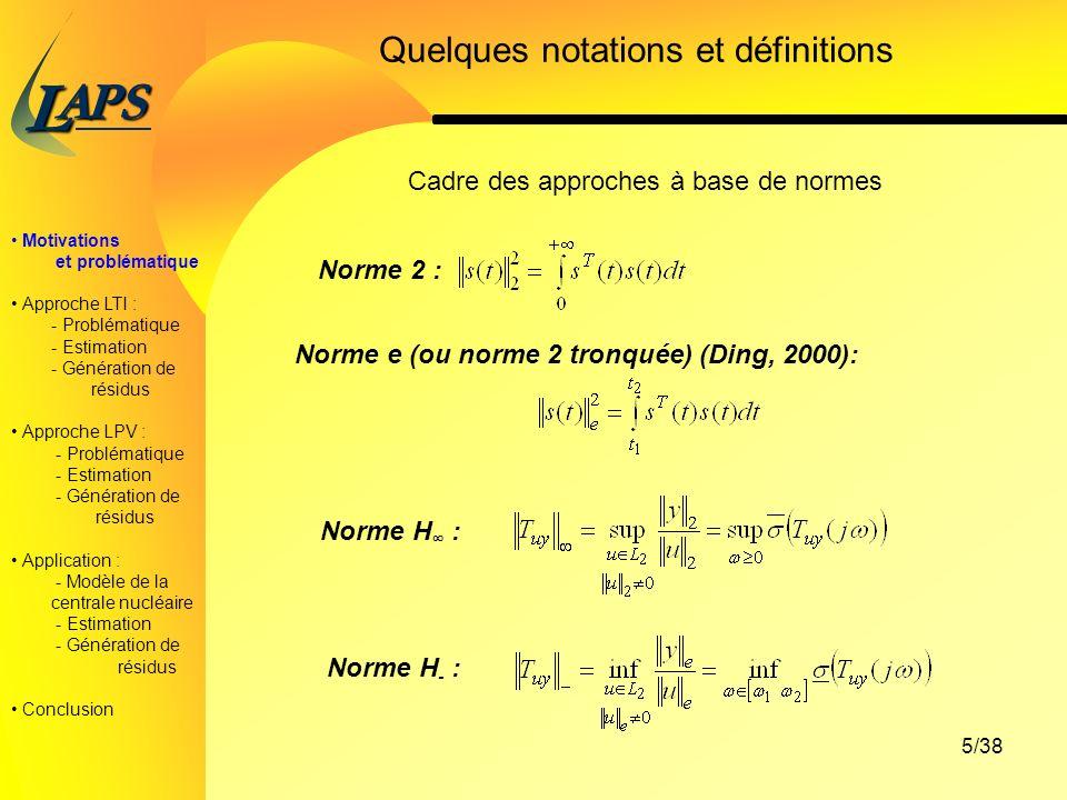 Quelques notations et définitions