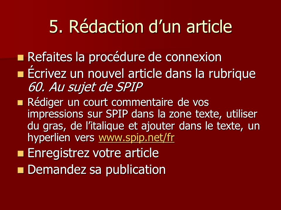5. Rédaction d'un article