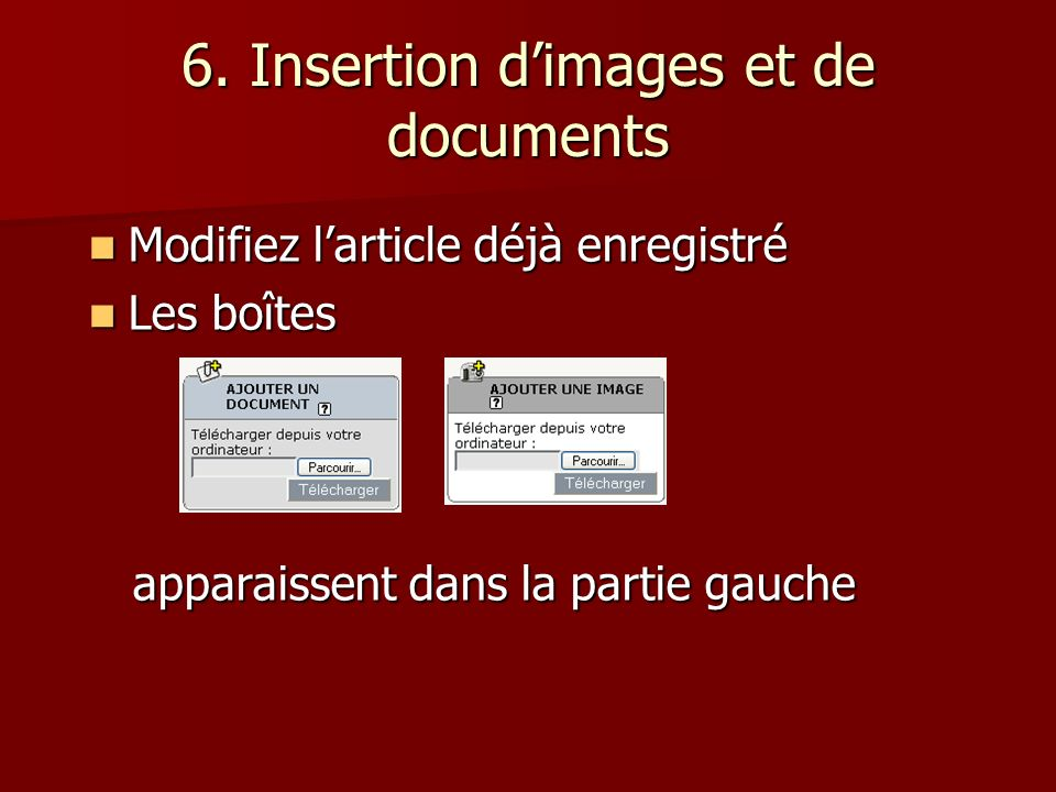 6. Insertion d'images et de documents