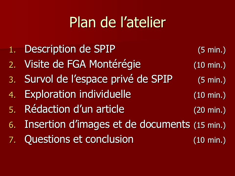 Plan de l'atelier Description de SPIP (5 min.)