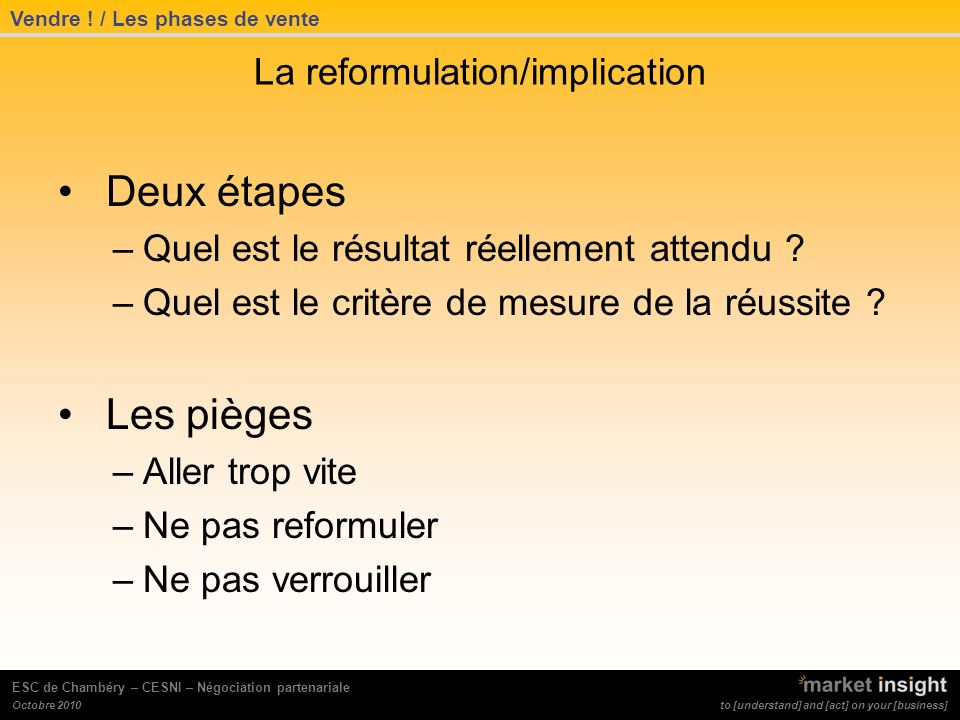 La reformulation/implication