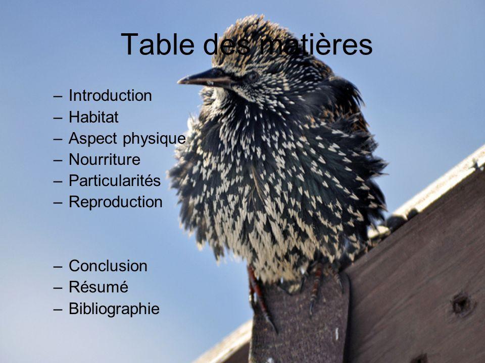 Table des matières Introduction Habitat Aspect physique Nourriture