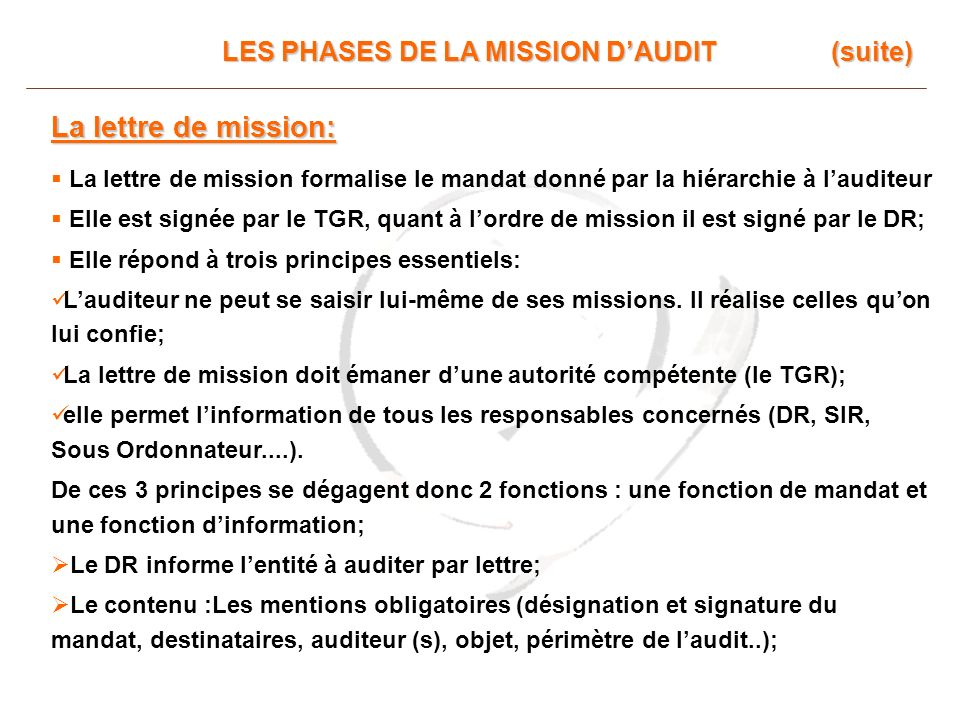 La lettre de mission: LES PHASES DE LA MISSION D'AUDIT (suite)