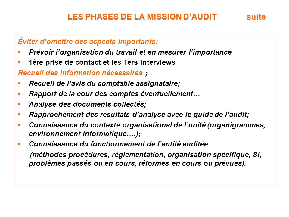 LES PHASES DE LA MISSION D'AUDIT suite