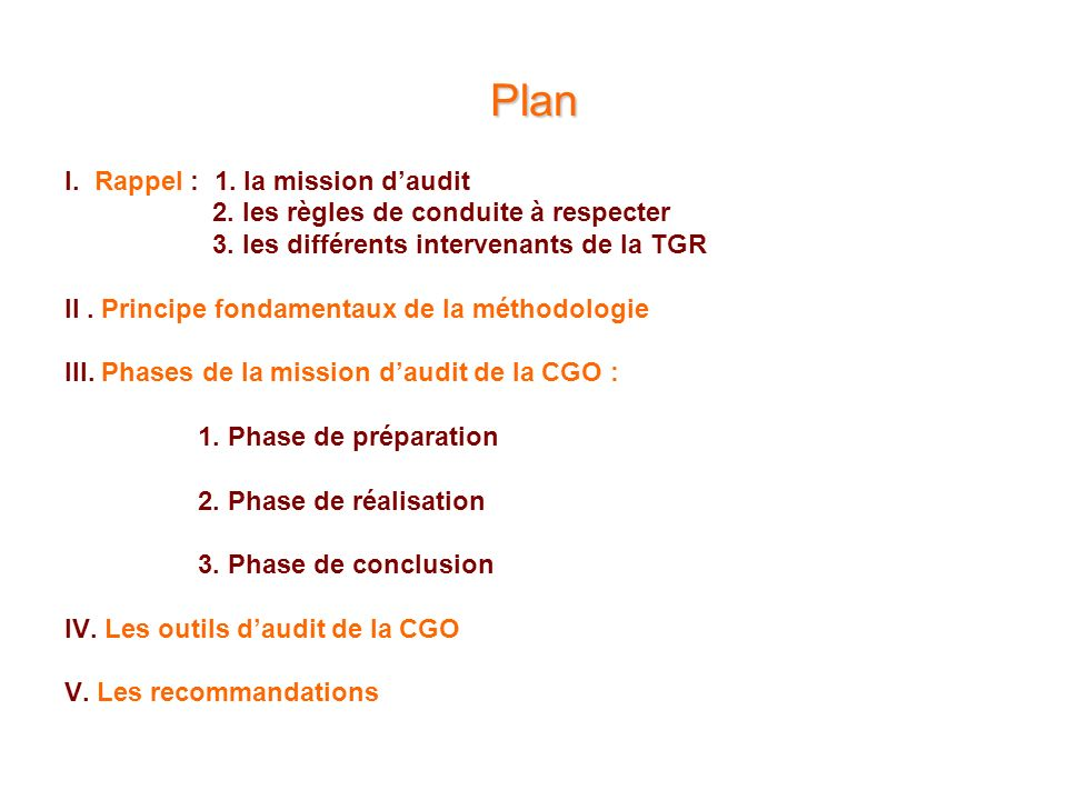 Plan I. Rappel : 1. la mission d'audit