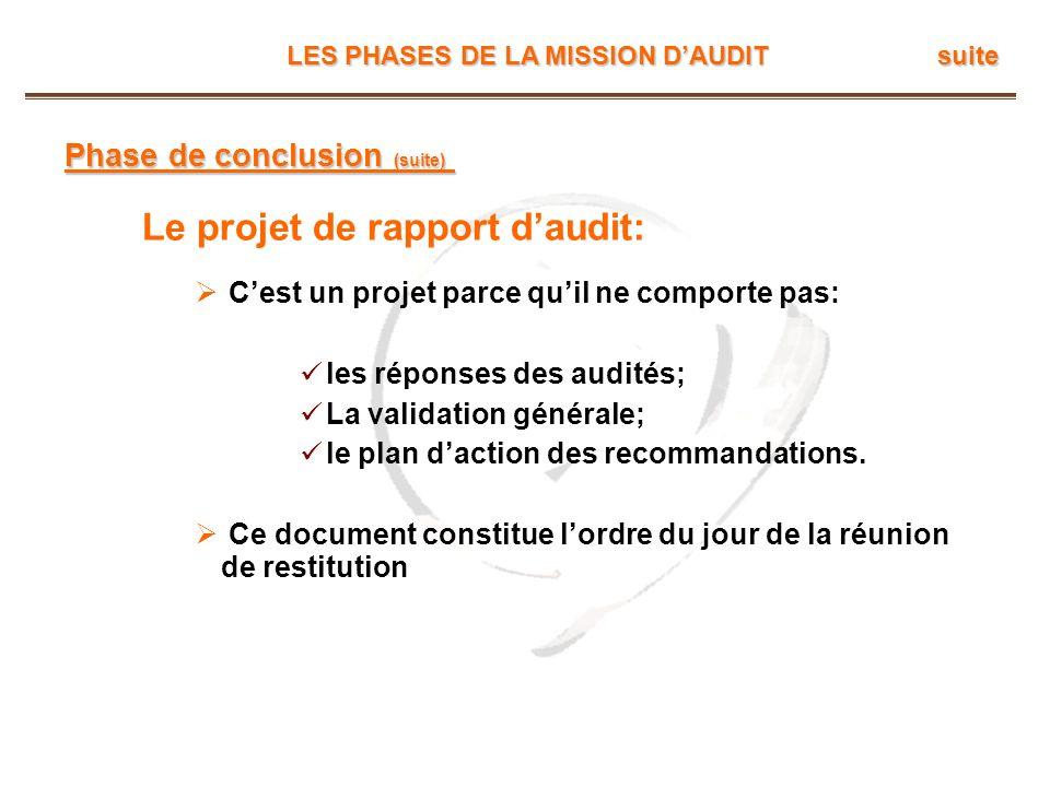 Le projet de rapport d'audit: