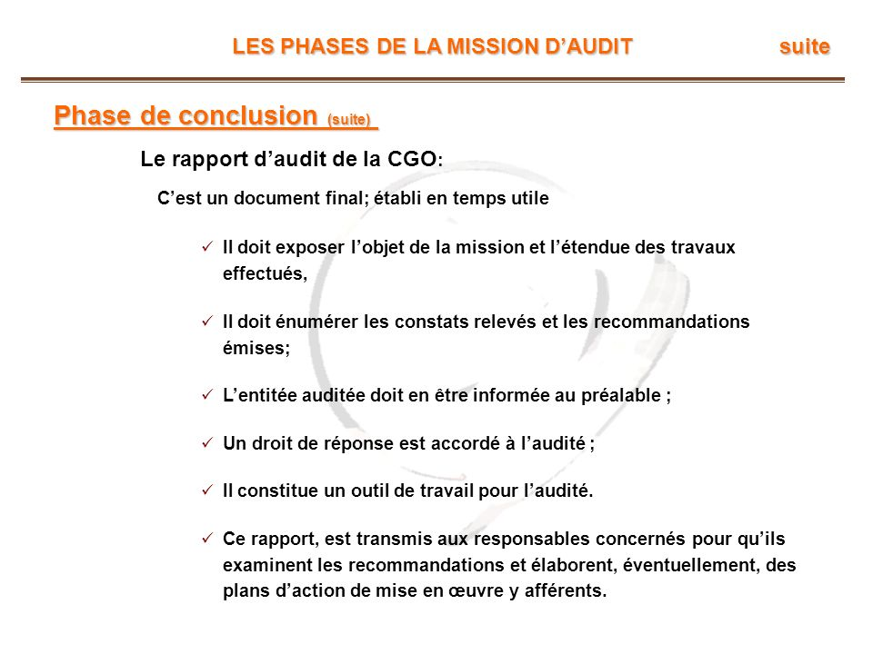 Phase de conclusion (suite)