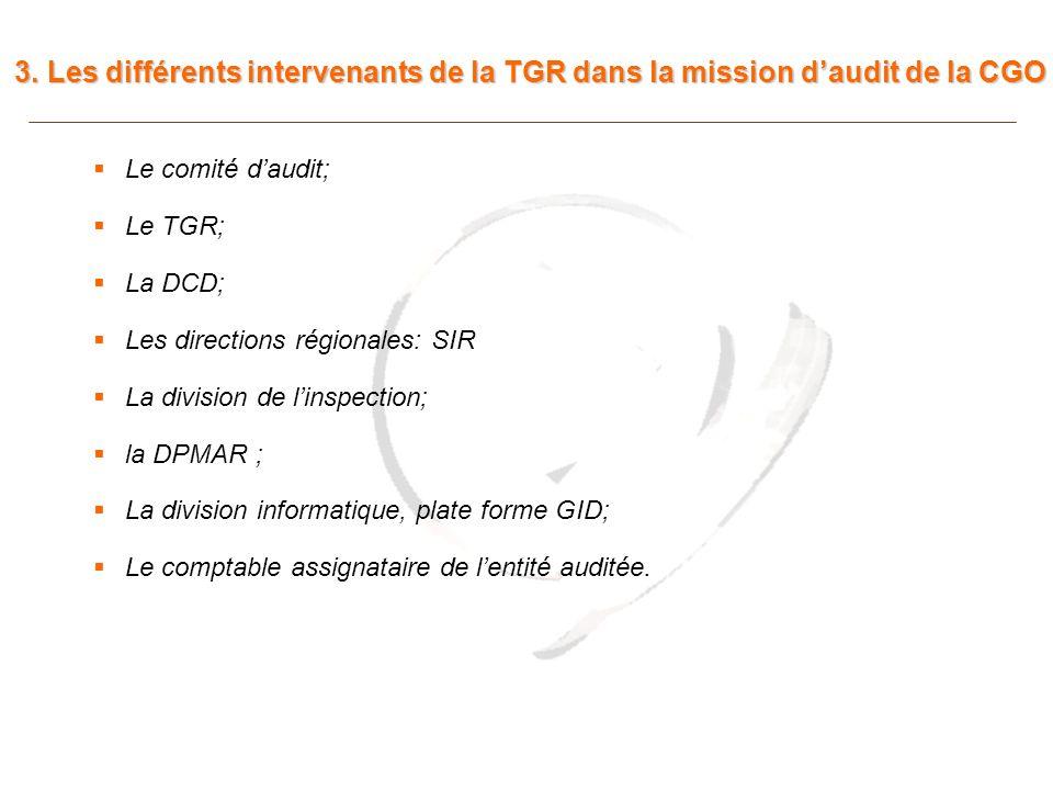 3. Les différents intervenants de la TGR dans la mission d'audit de la CGO