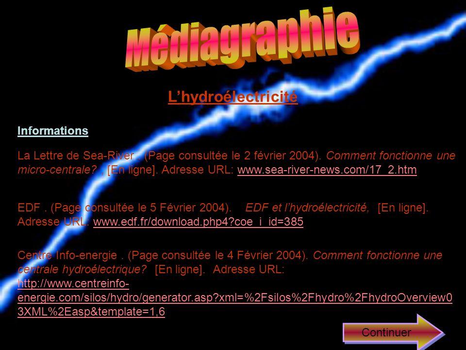 Médiagraphie L'hydroélectricité Informations