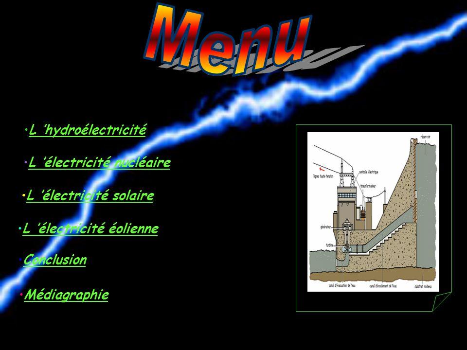 Menu L 'hydroélectricité L 'électricité nucléaire