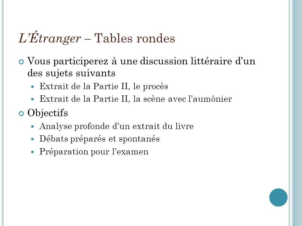 L'Étranger – Tables rondes