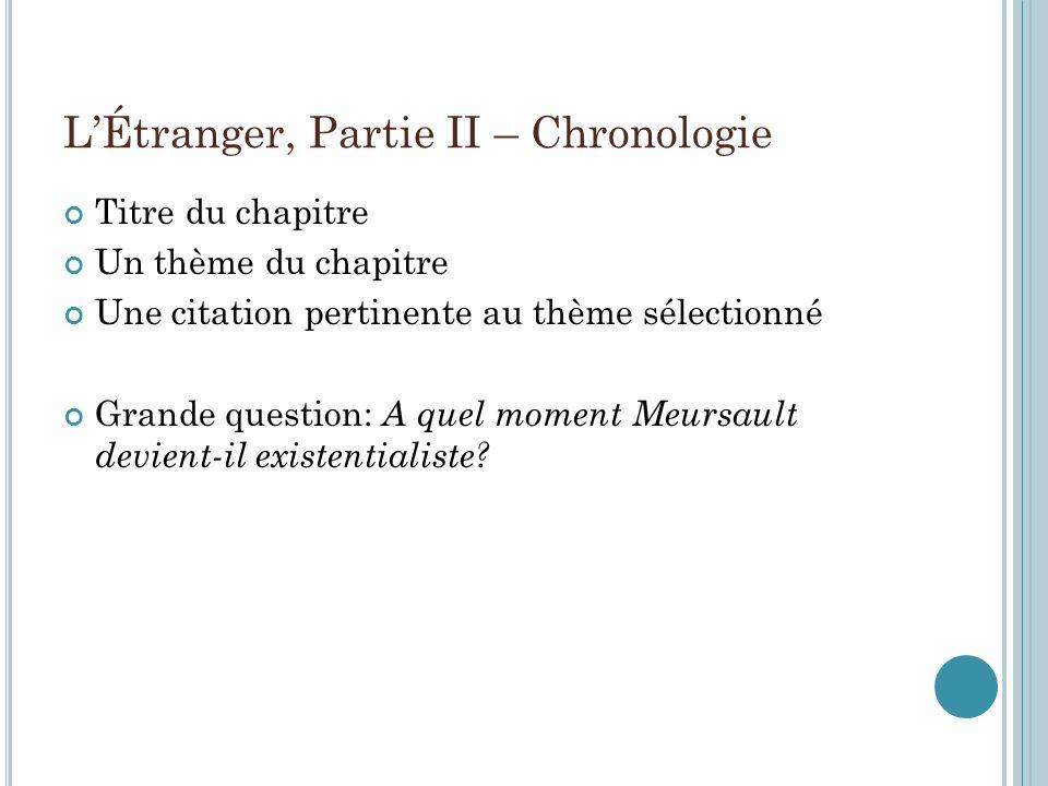 L'Étranger, Partie II – Chronologie