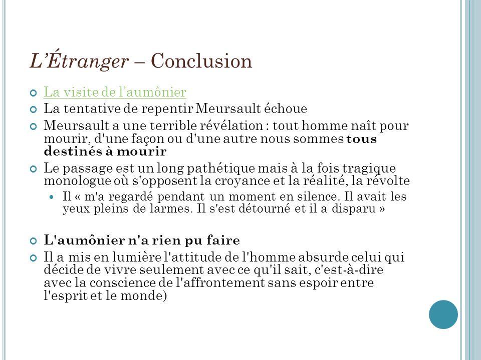 L'Étranger – Conclusion