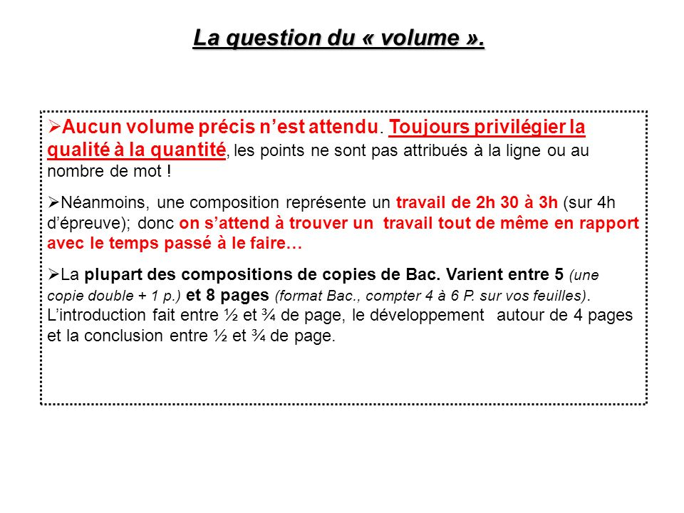 La question du « volume ».
