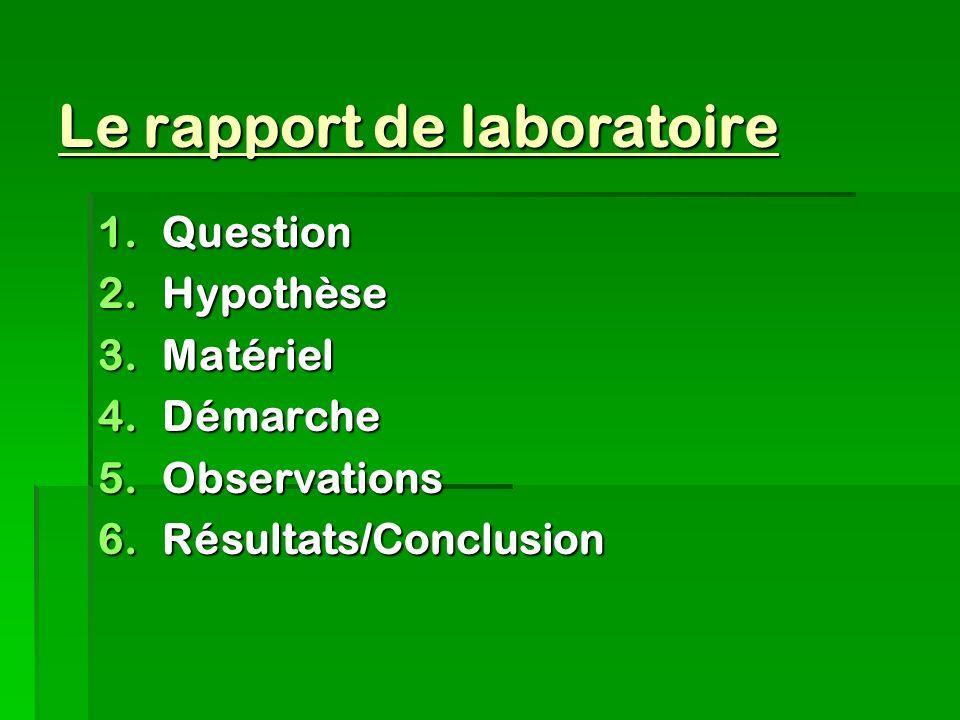 Le rapport de laboratoire