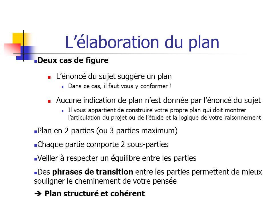 L'élaboration du plan Deux cas de figure