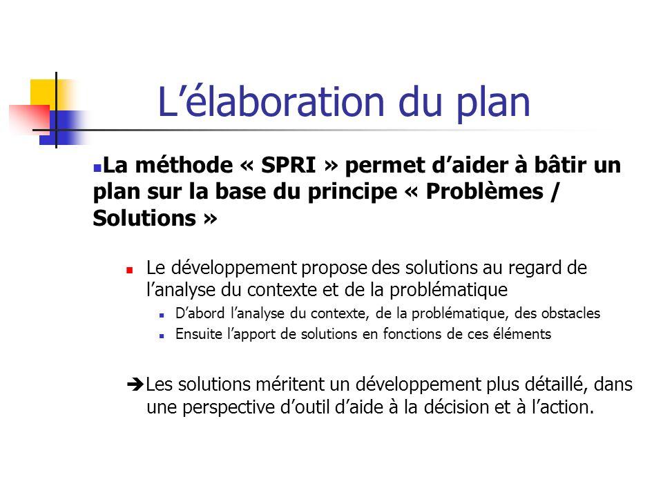 L'élaboration du plan La méthode « SPRI » permet d'aider à bâtir un plan sur la base du principe « Problèmes / Solutions »
