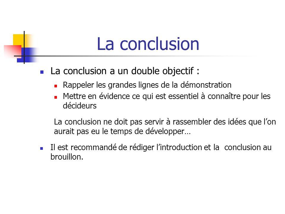 La conclusion La conclusion a un double objectif :