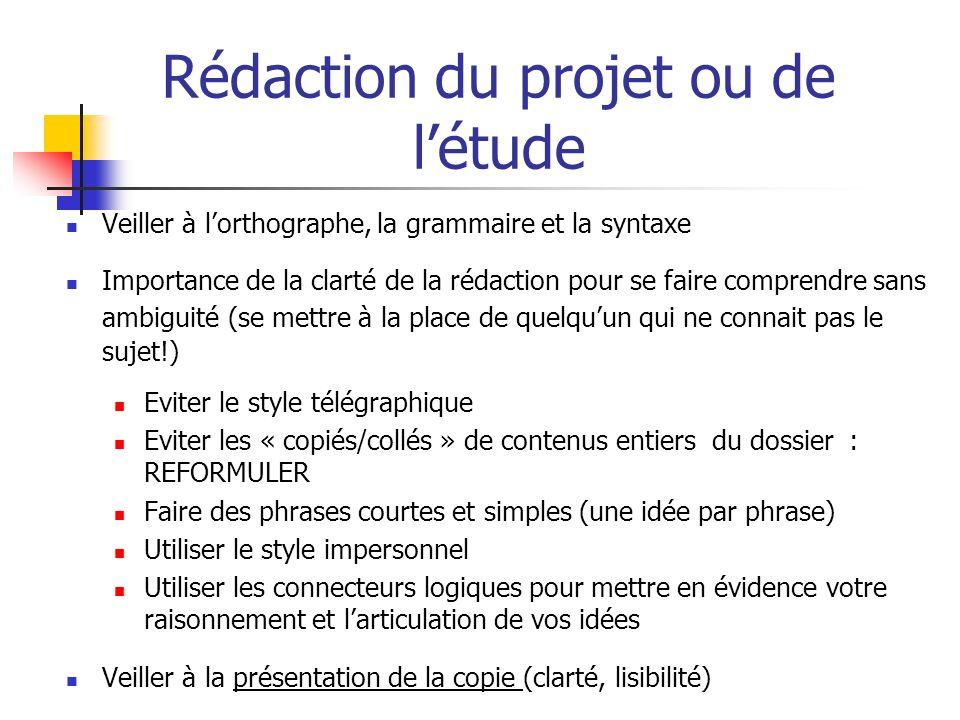 Rédaction du projet ou de l'étude