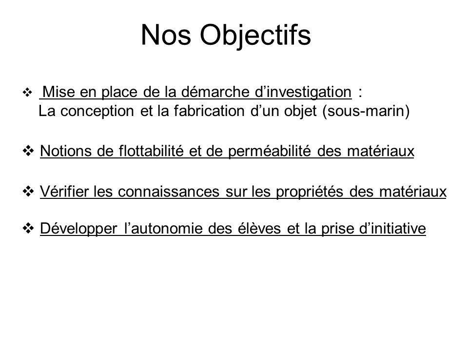 Nos Objectifs La conception et la fabrication d'un objet (sous-marin)