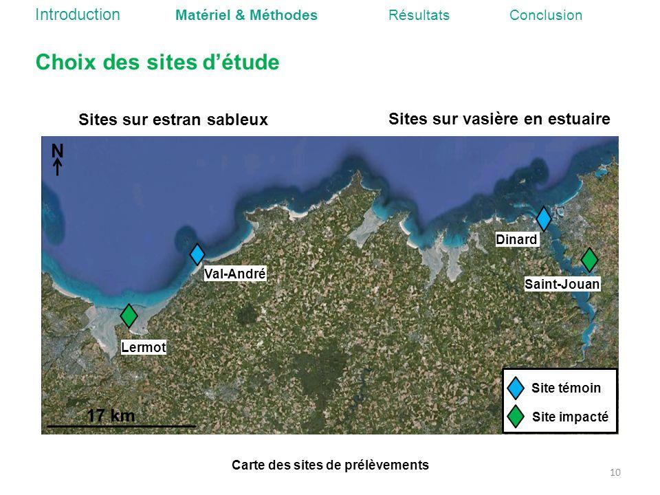 Carte des sites de prélèvements