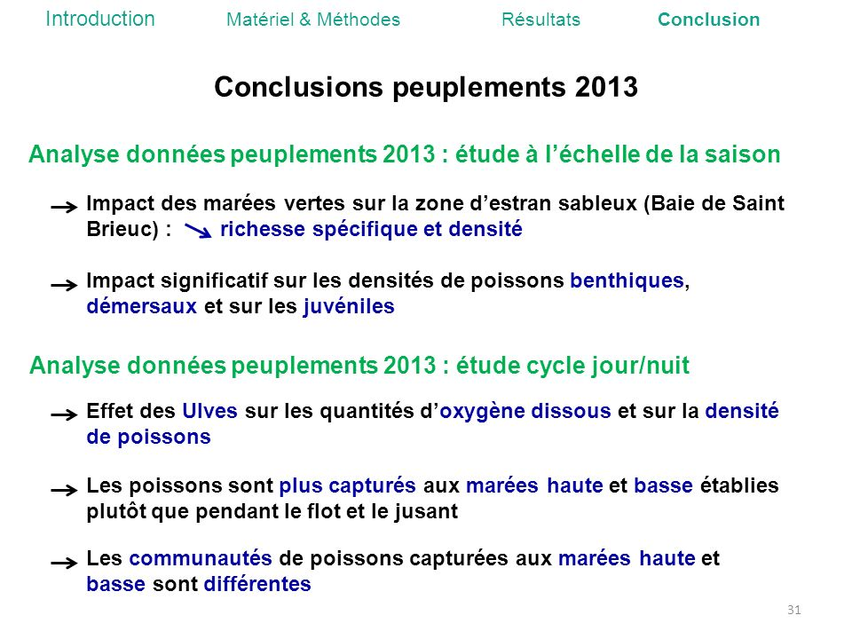 Conclusions peuplements 2013