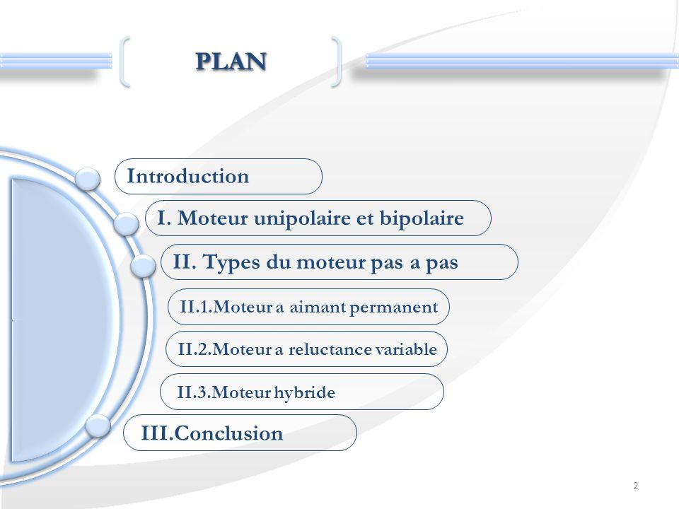 PLAN Introduction I. Moteur unipolaire et bipolaire