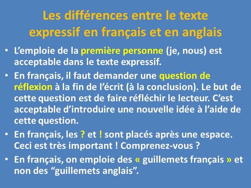 Les différences entre le texte expressif en français et en anglais