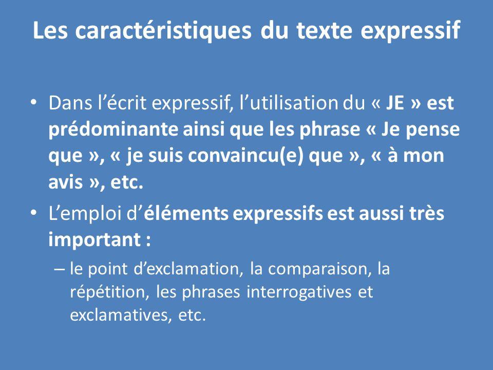 Les caractéristiques du texte expressif