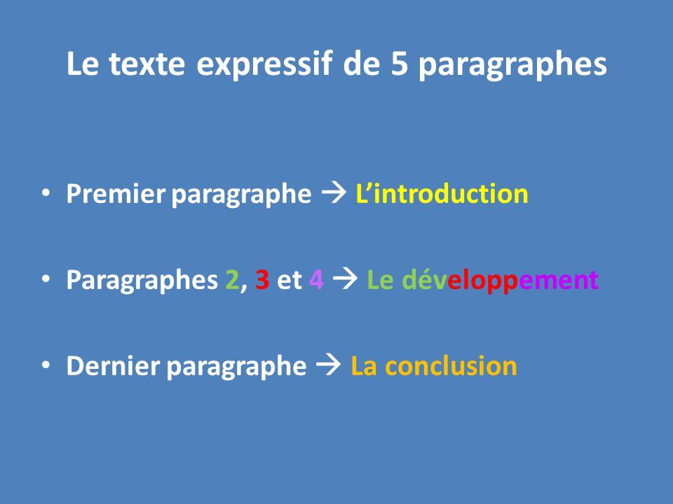 Le texte expressif de 5 paragraphes