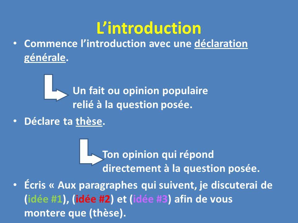 L'introduction Commence l'introduction avec une déclaration générale.