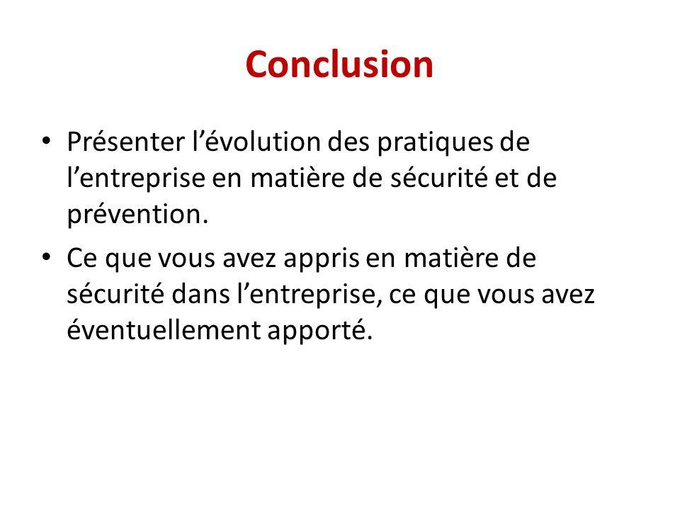 Conclusion Présenter l'évolution des pratiques de l'entreprise en matière de sécurité et de prévention.