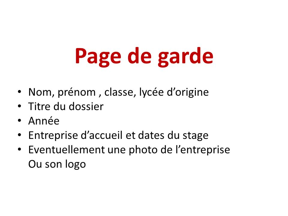 Page de garde Nom, prénom , classe, lycée d'origine Titre du dossier