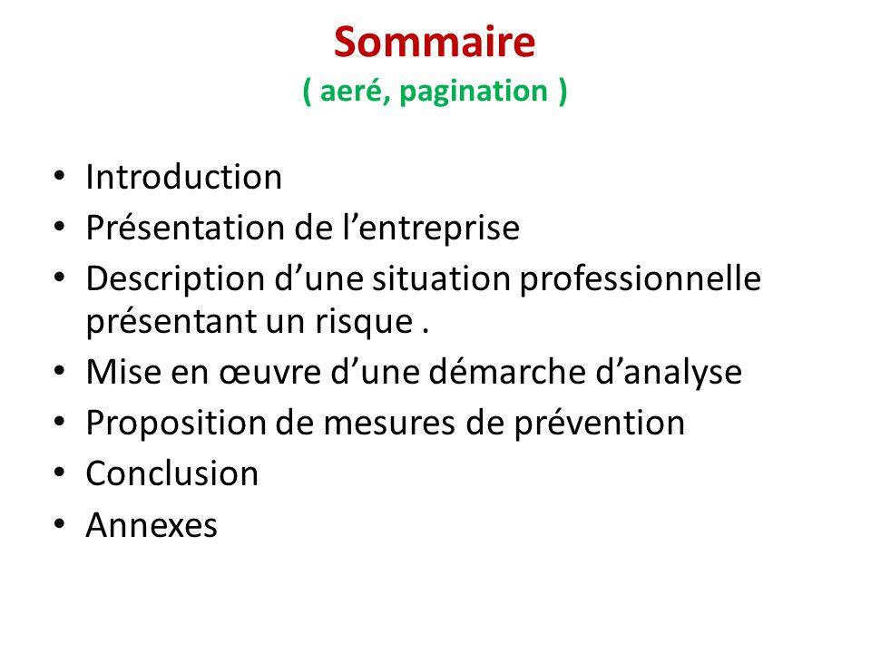Sommaire ( aeré, pagination )