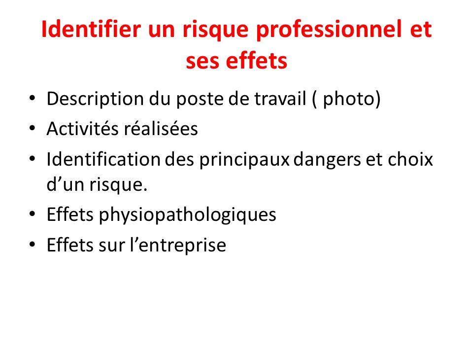 Identifier un risque professionnel et ses effets