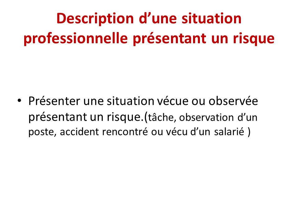 Description d'une situation professionnelle présentant un risque