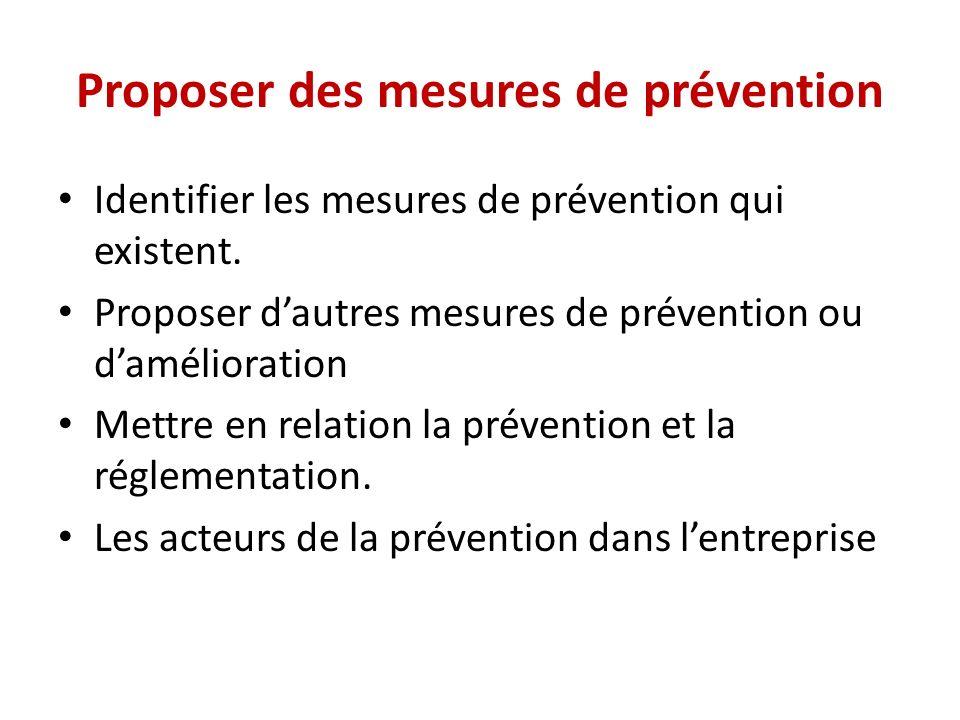 Proposer des mesures de prévention