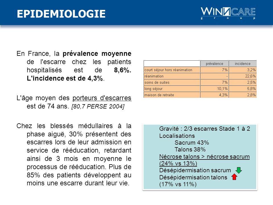 EPIDEMIOLOGIE En France, la prévalence moyenne de l escarre chez les patients hospitalisés est de 8,6%. L incidence est de 4,3%.