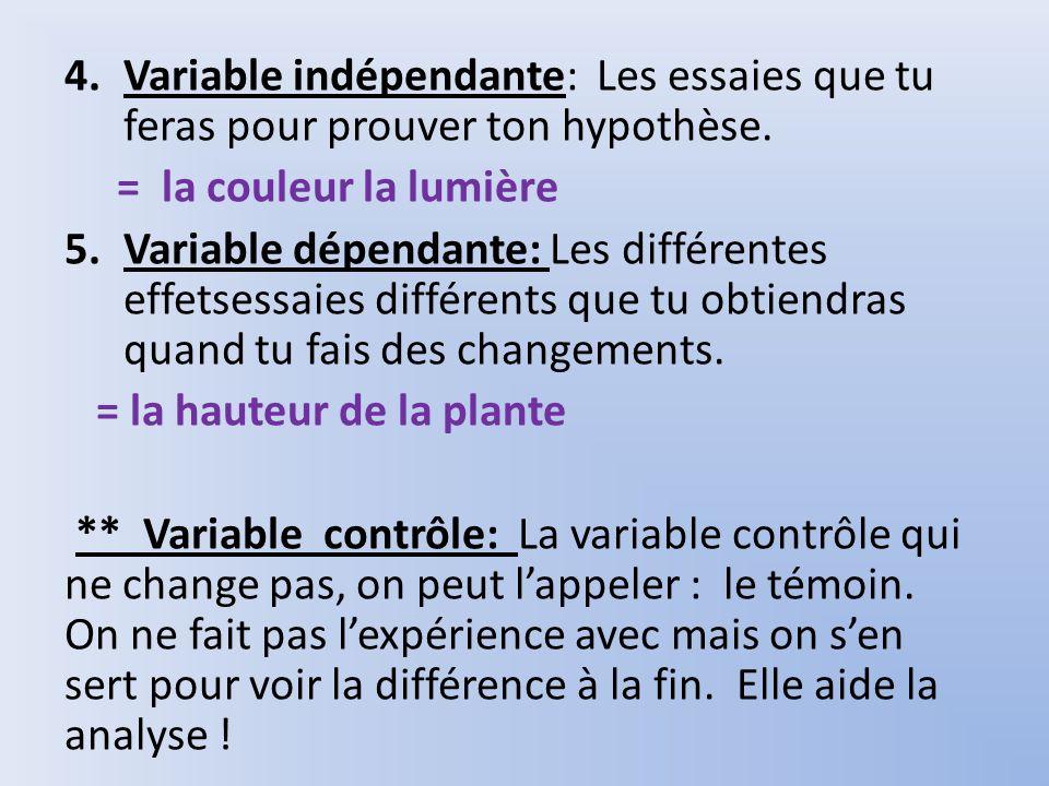 Variable indépendante: Les essaies que tu feras pour prouver ton hypothèse.