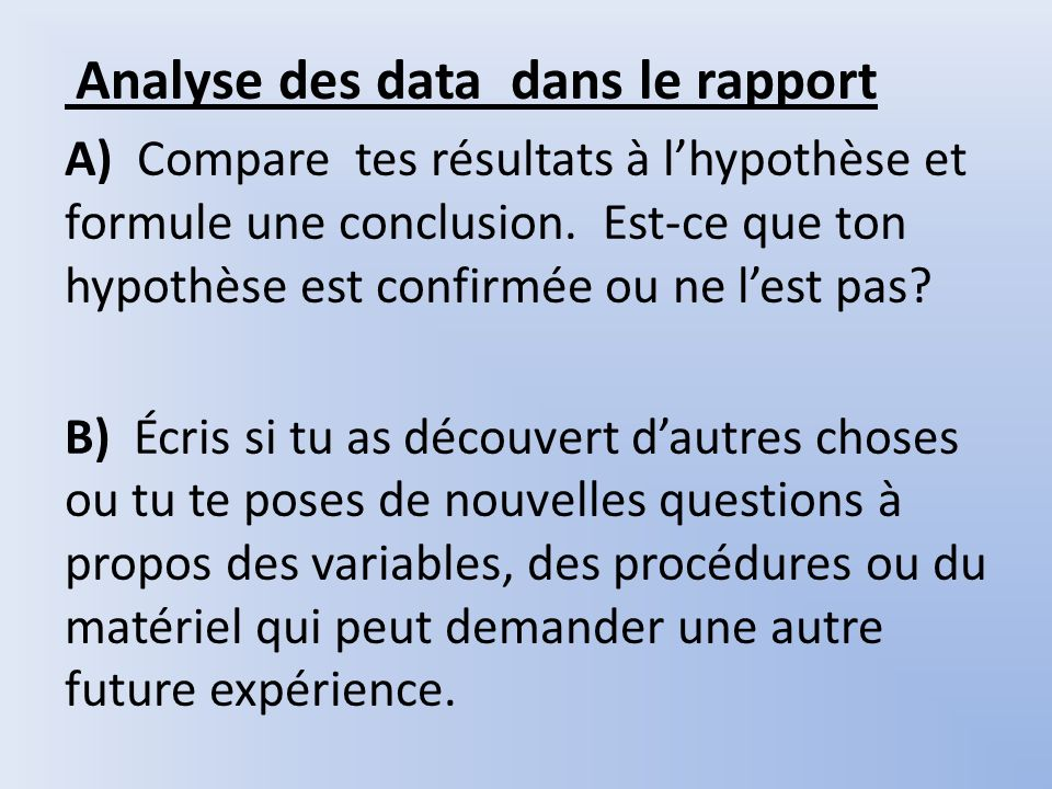 Analyse des data dans le rapport