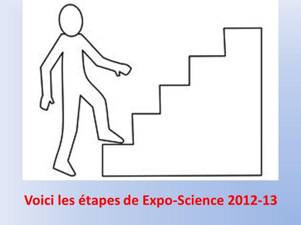 Voici les étapes de Expo-Science 2012-13