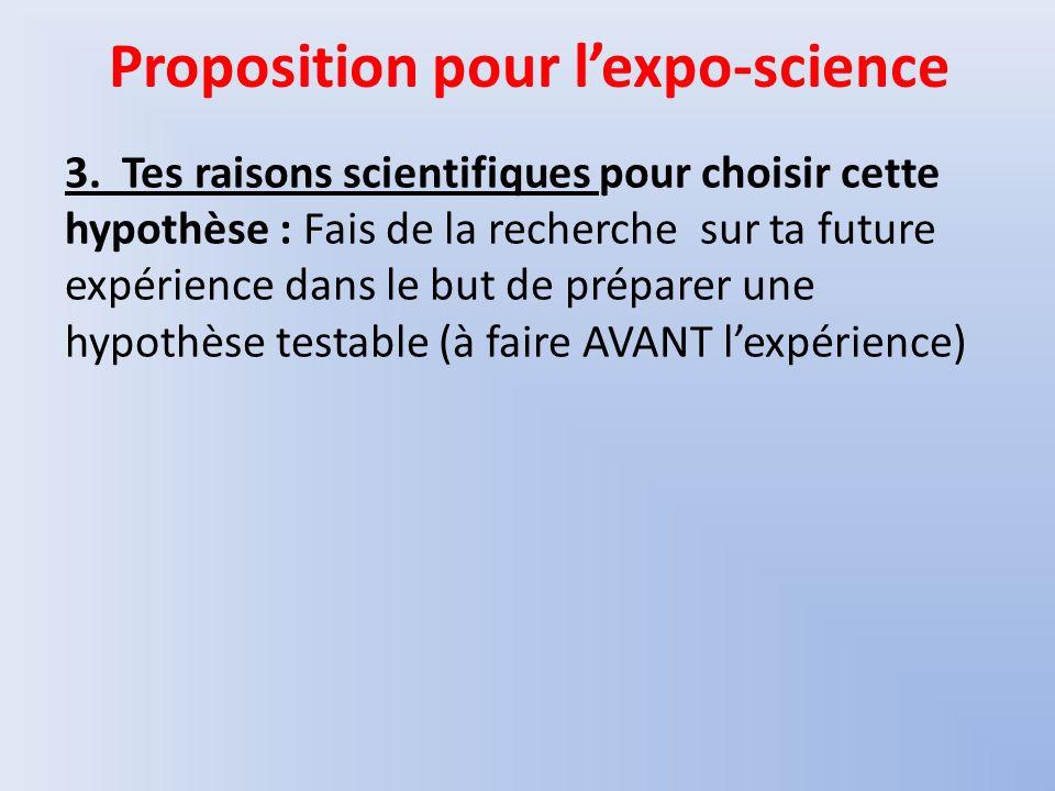 Proposition pour l'expo-science