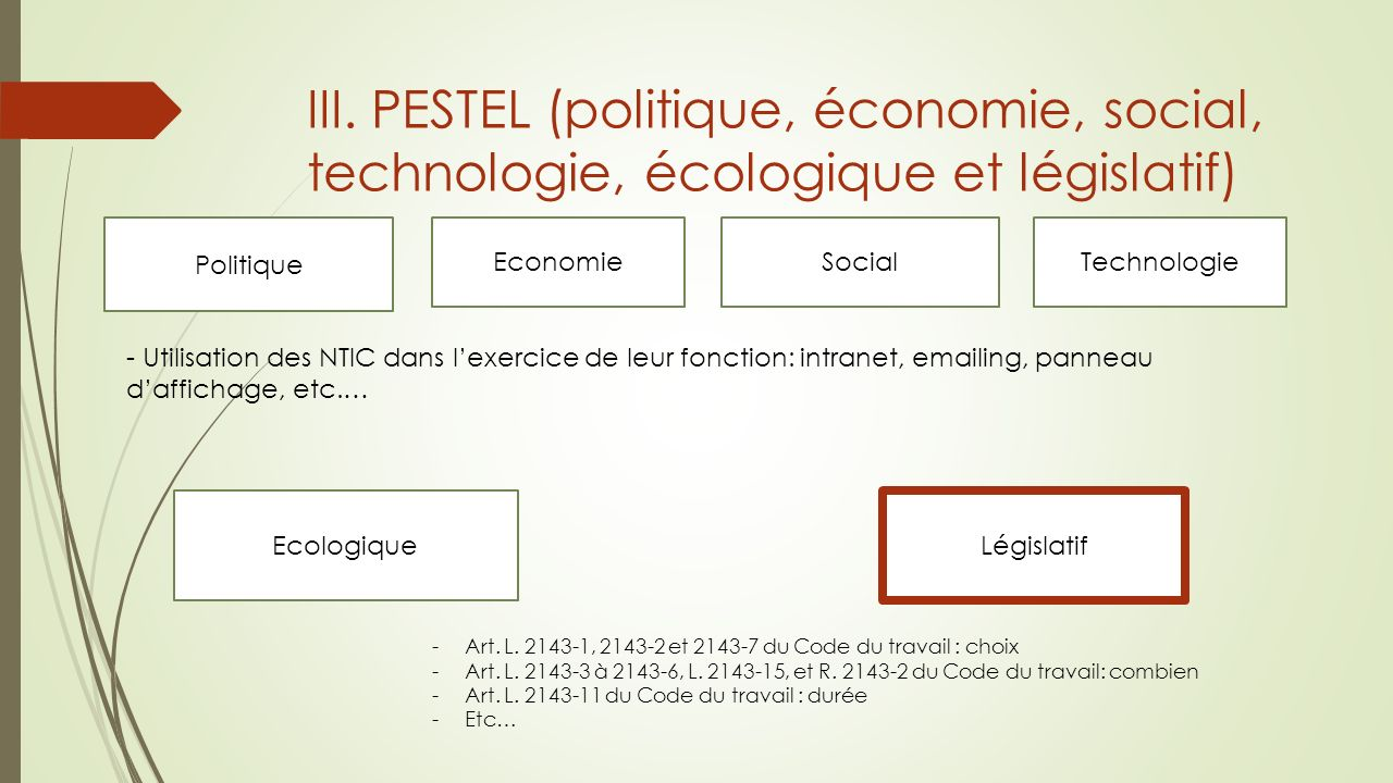 III. PESTEL (politique, économie, social, technologie, écologique et législatif)