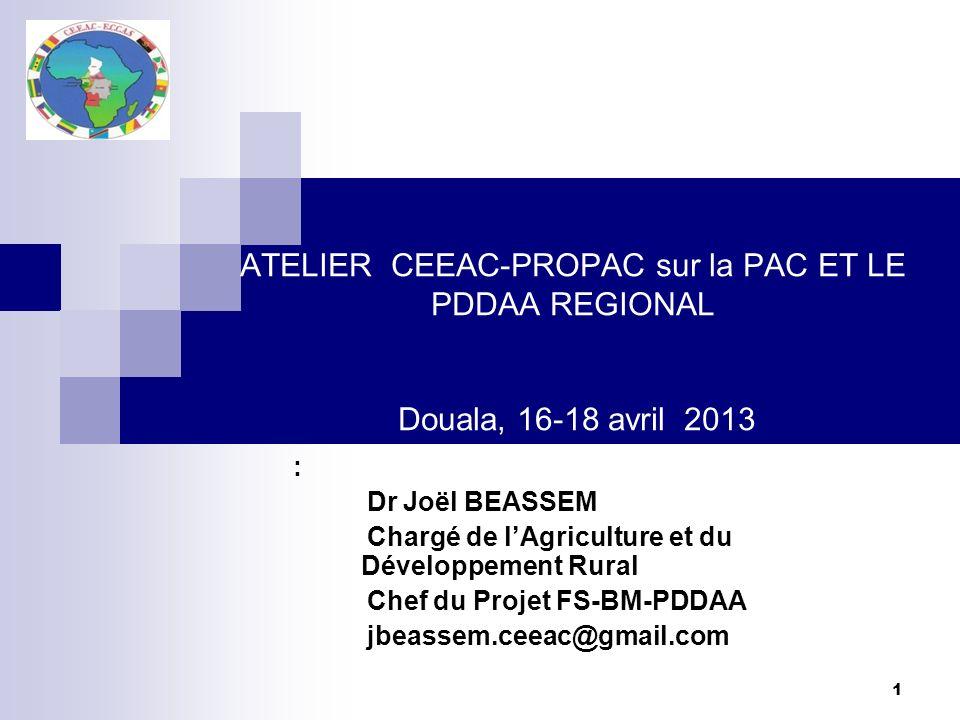 ATELIER CEEAC-PROPAC sur la PAC ET LE PDDAA REGIONAL Douala, 16-18 avril 2013
