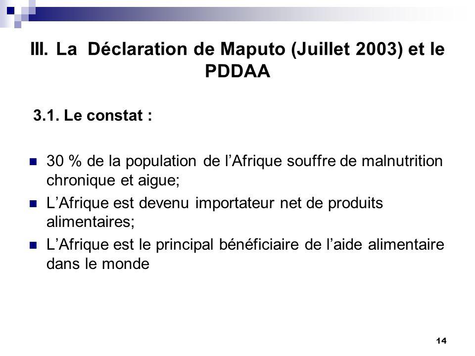 III. La Déclaration de Maputo (Juillet 2003) et le PDDAA