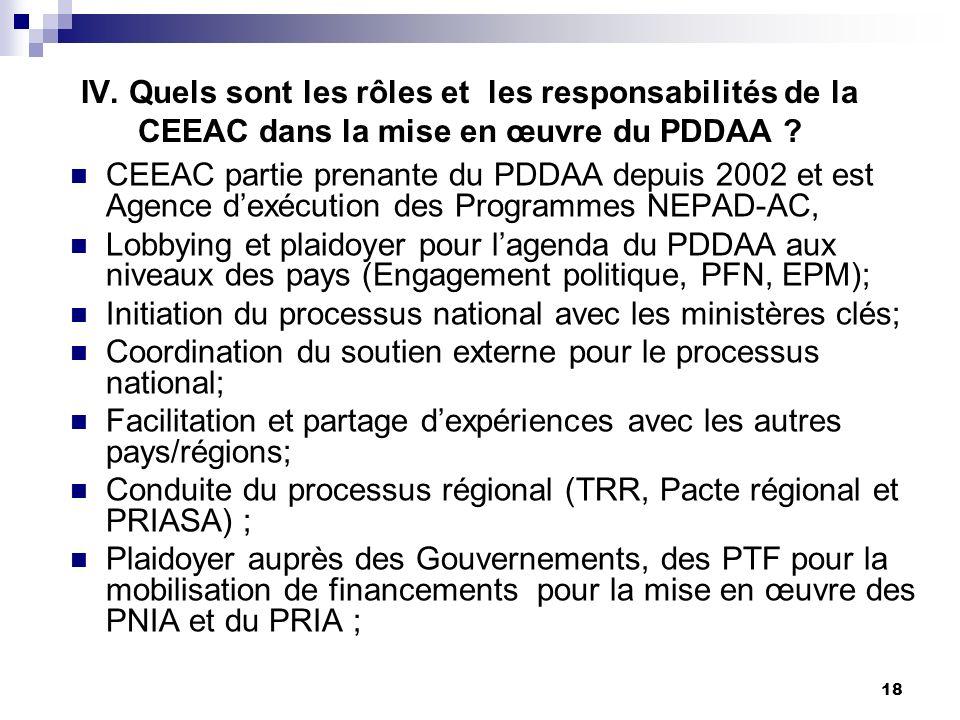 IV. Quels sont les rôles et les responsabilités de la CEEAC dans la mise en œuvre du PDDAA